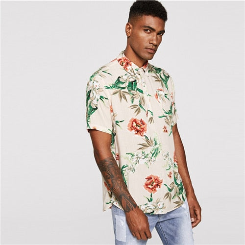 Men Botanical Print Shirt