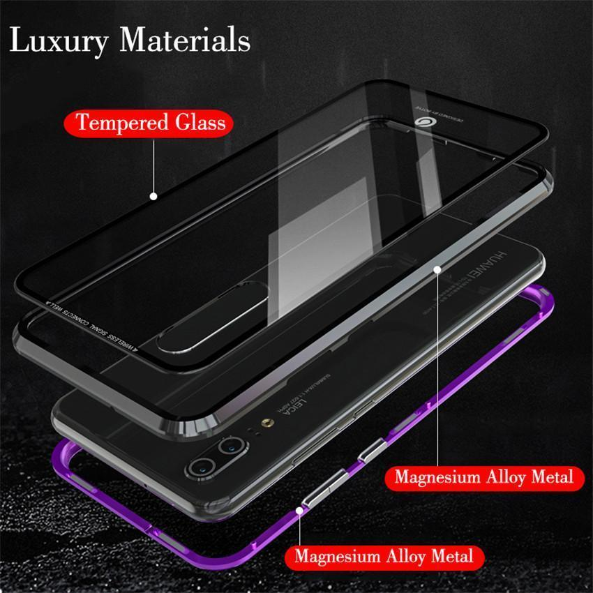 the best attitude 71bc7 54261 Magnetic Adsorption Metal Phone Case For huawei p20 pro Luxury Ultra Magnet  Tempered Glass 360 Full Cover For huawei P20pro P20