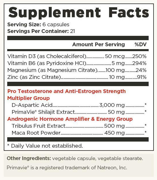 old school labs vintage boost ingredient facts label