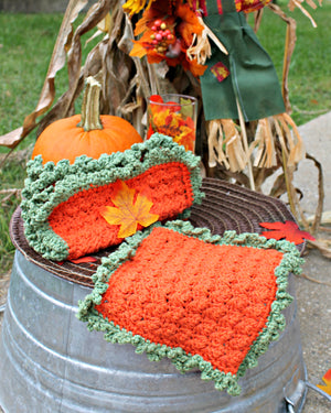 Dishcloth, Crocheted Orange and Green