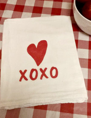 Heart XOXO Flour Sack Tea Towel