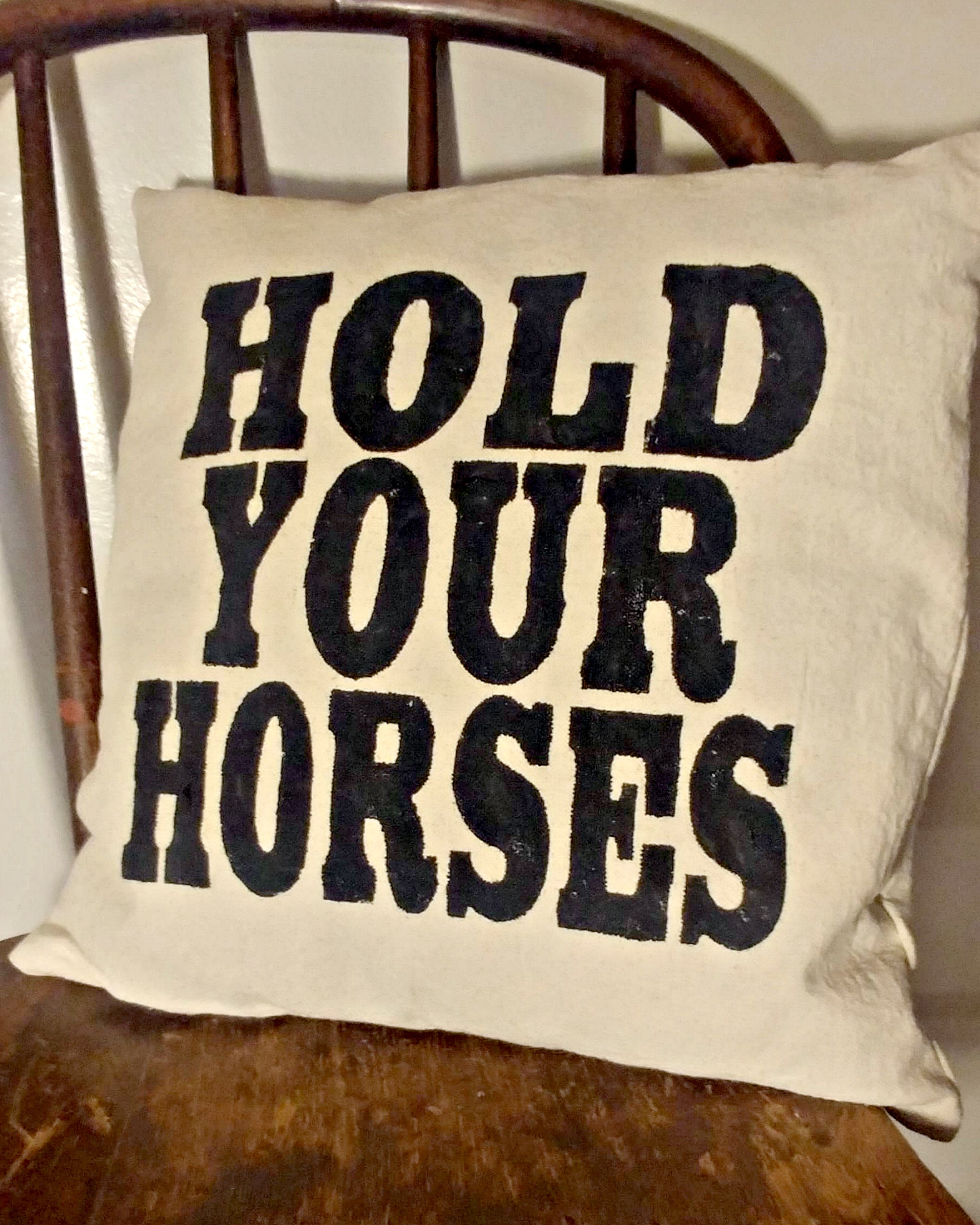 Farmhouse Pillow - Hold Your Horses