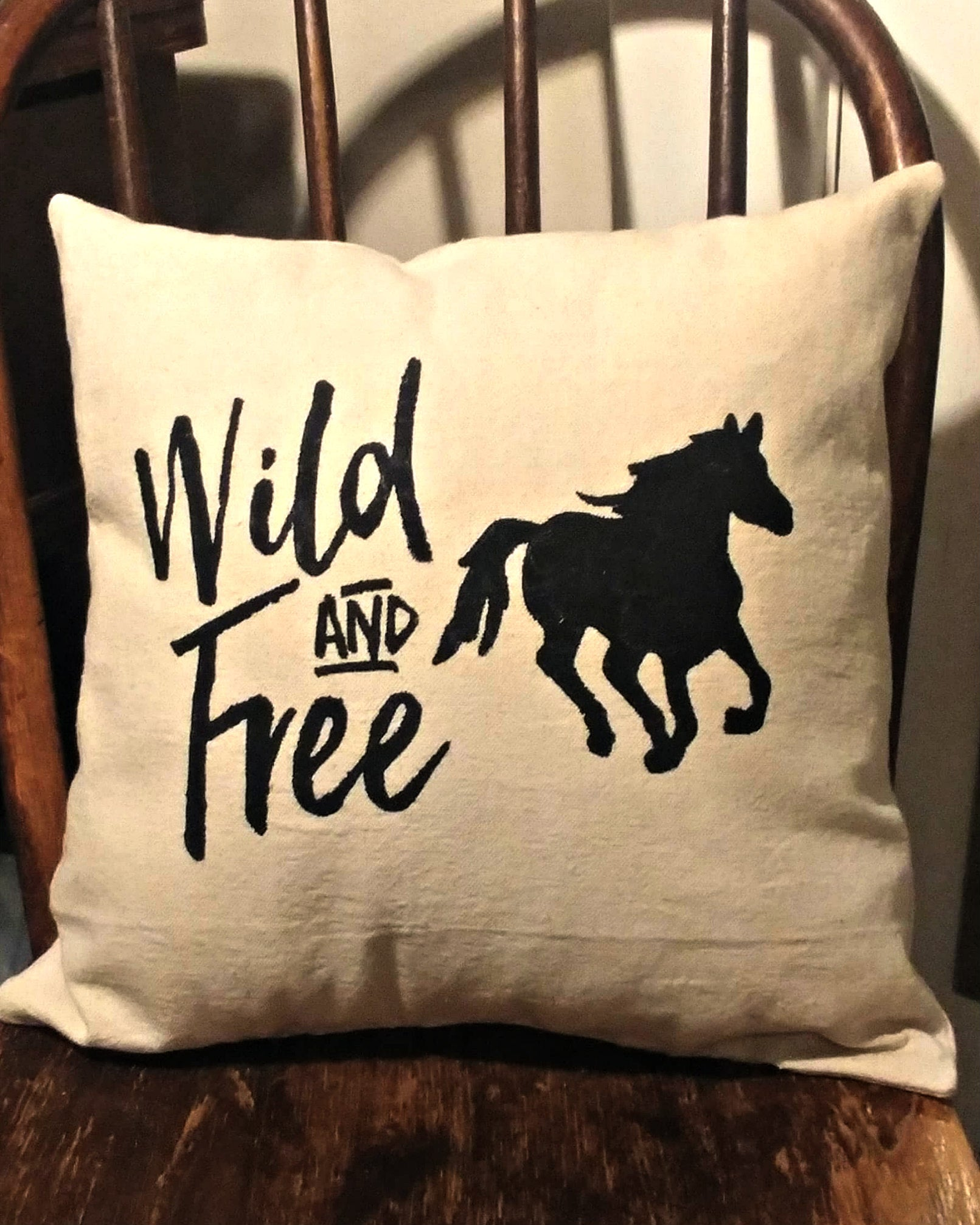 Farmhouse Pillow Wild and Free with Horse