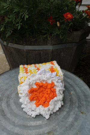 Washcloth and Scrubby set. Orange, Yellow, and White