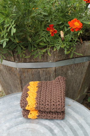 Dishcloth, Brown and Gold