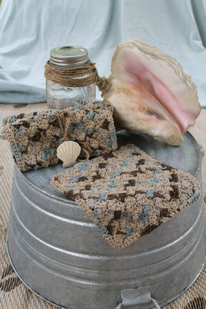 Crocheted Washcloth, Brown and Blue