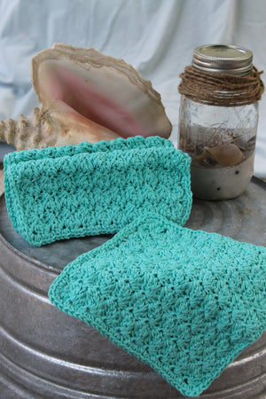 Crocheted Dishcloth, Teal