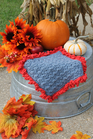 Crocheted Dishcloth with Ruffle, Blue and Red