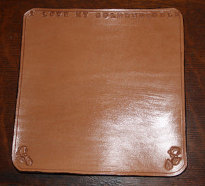 Hand Tooled Leather Mouse Pad - I Love My Goldendoodle