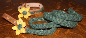 Green Braided Dog Leash with Leather Collar, and Yellow Flowers