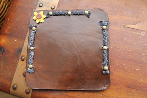 Handcrafted Leather Mouse Pad with Braided Fabric and Flower