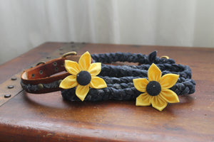 Blue Braided Dog Leash with Leather Collar and Yellow Flowers