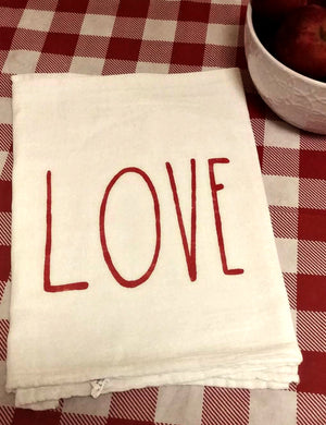 Heart XOXO Sack Tea Towel