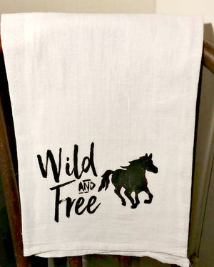 Wild and Free Flour Sack Tea Towel