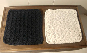 Crocheted Dishcloth set, Black and White