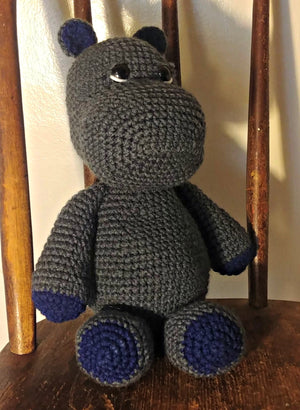Crocheted Stuffed Hippo Toy