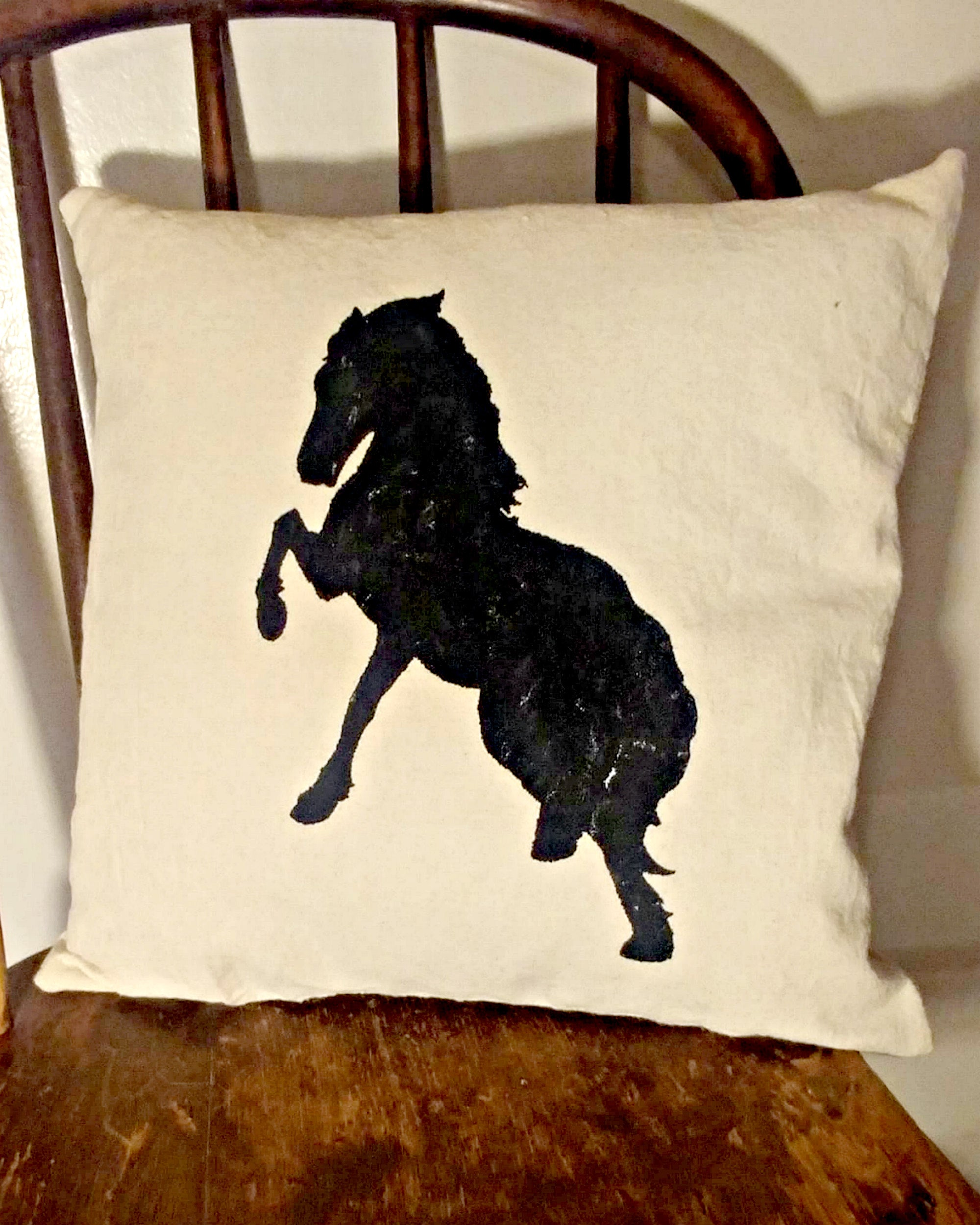 Farmhouse Pillow - Rearing Horse