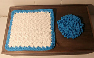 Crocheted Wash cloth set, Blue and White