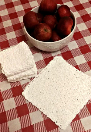 Crocheted Dishcloth or Washcloth, White