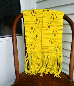 Paw Print Scarf - Yellow