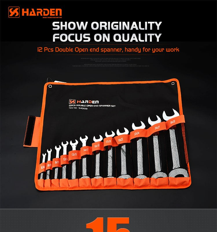 Harden Double Open-end SpannerSize6-32mm (12Pc)