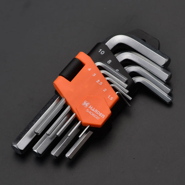 Harden 9Pcs Short Hex Key Wrench Size 1.5 - 10mm