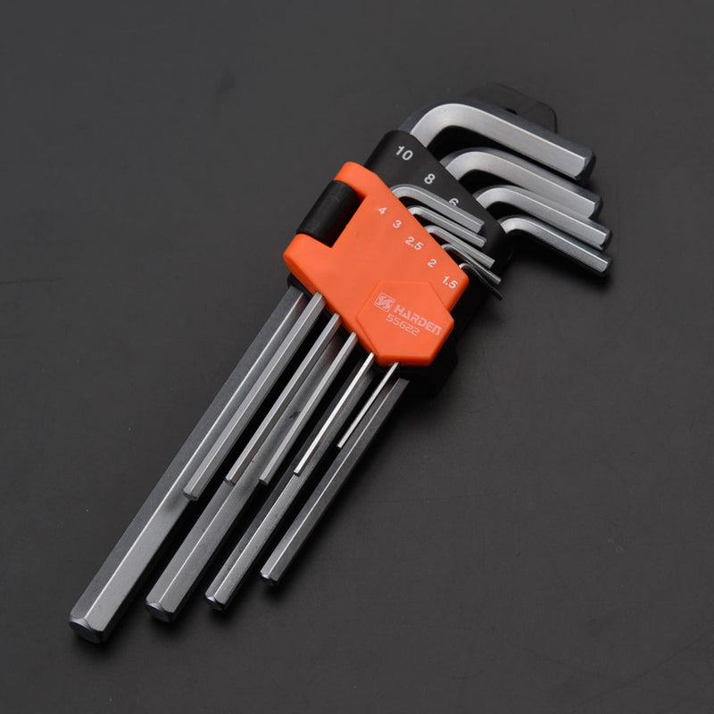 Harden 9Pcs Medium Hex Key Wrench Size 1.5 - 10mm