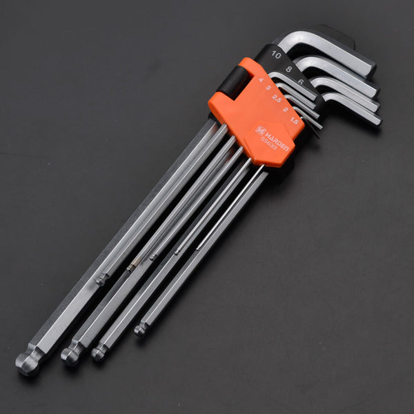 Harden 9Pcs Long Ball Key Wrench Size 1.5 - 10mm