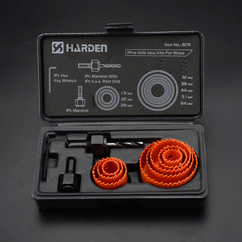 Harden 11Pcs Holesaw Kits For Wood