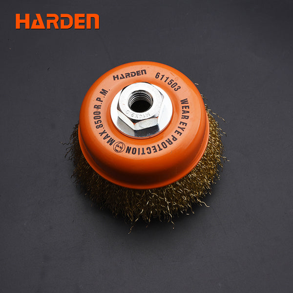 Harden Cup Wire Brush With NutSize75mm  x  M10 x 1.5