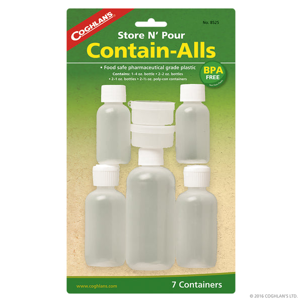 Contain-Alls                                                                                              1) 4 oz. (120 mL) bottle, 2)2 oz. (60 mL) bottles,   2) 1 oz. (30 mL)  bottles, 2) 1/2 oz. (15 mL) polycon containers