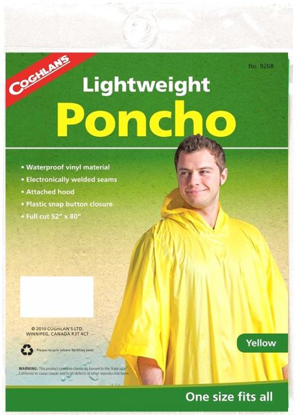 "Yellow Lightweight Poncho                                                                      Full cut 52"" x 80"" (132 cm x 203 cm)"
