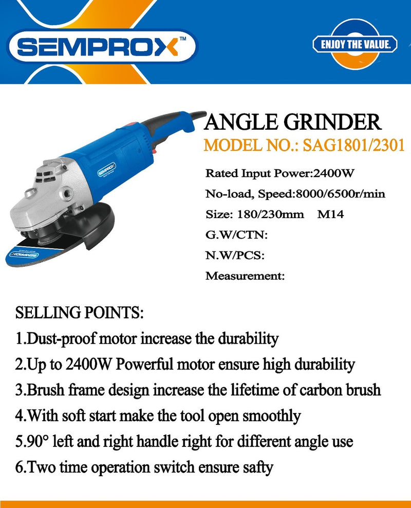Semprox 180mm Angle Grinder 2400w