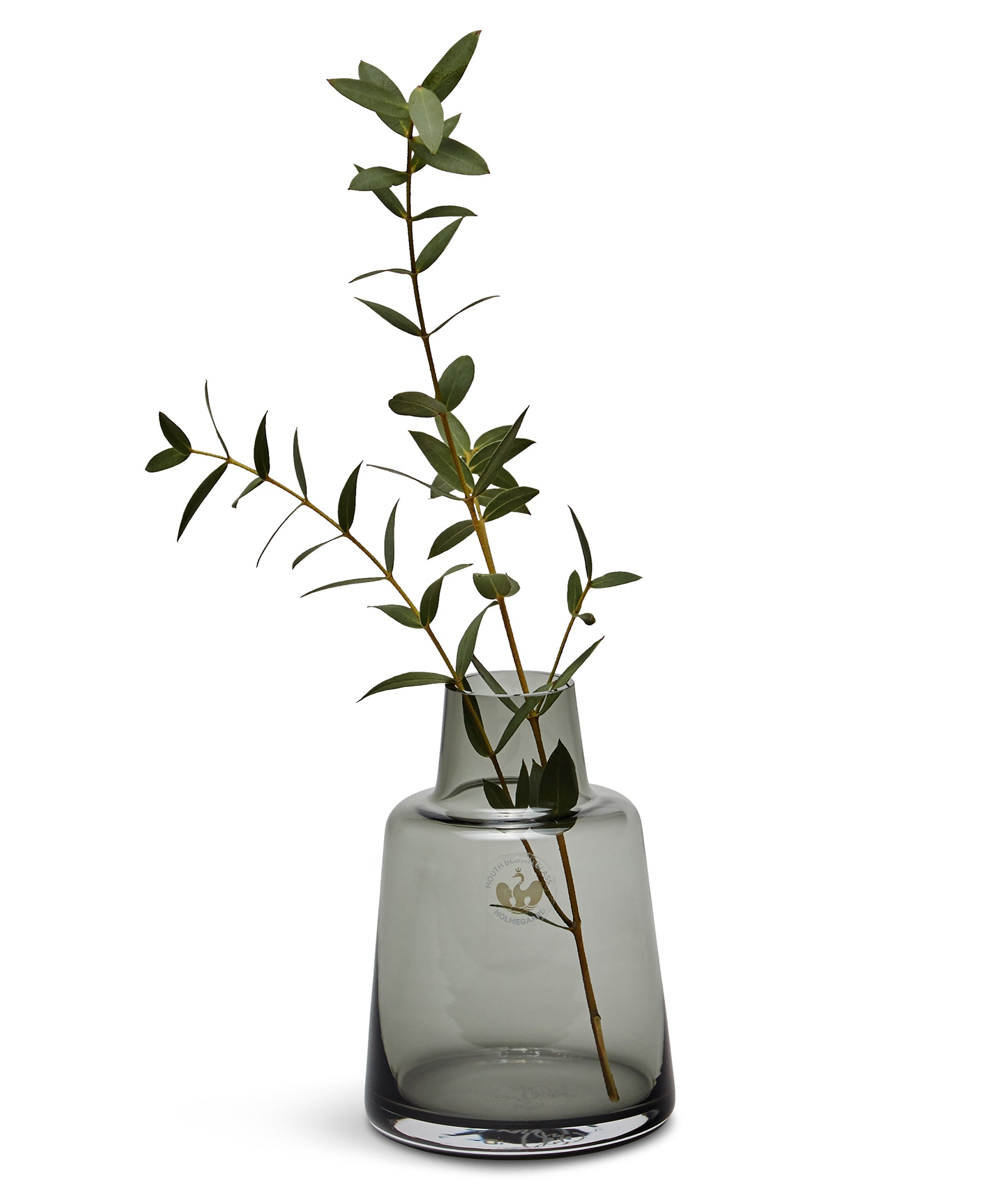Flora Short Neck Vase 120mm (Smoke) by Holmegaard