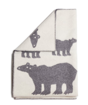 Polar Bear Blanket (White/Grey) by Klippan