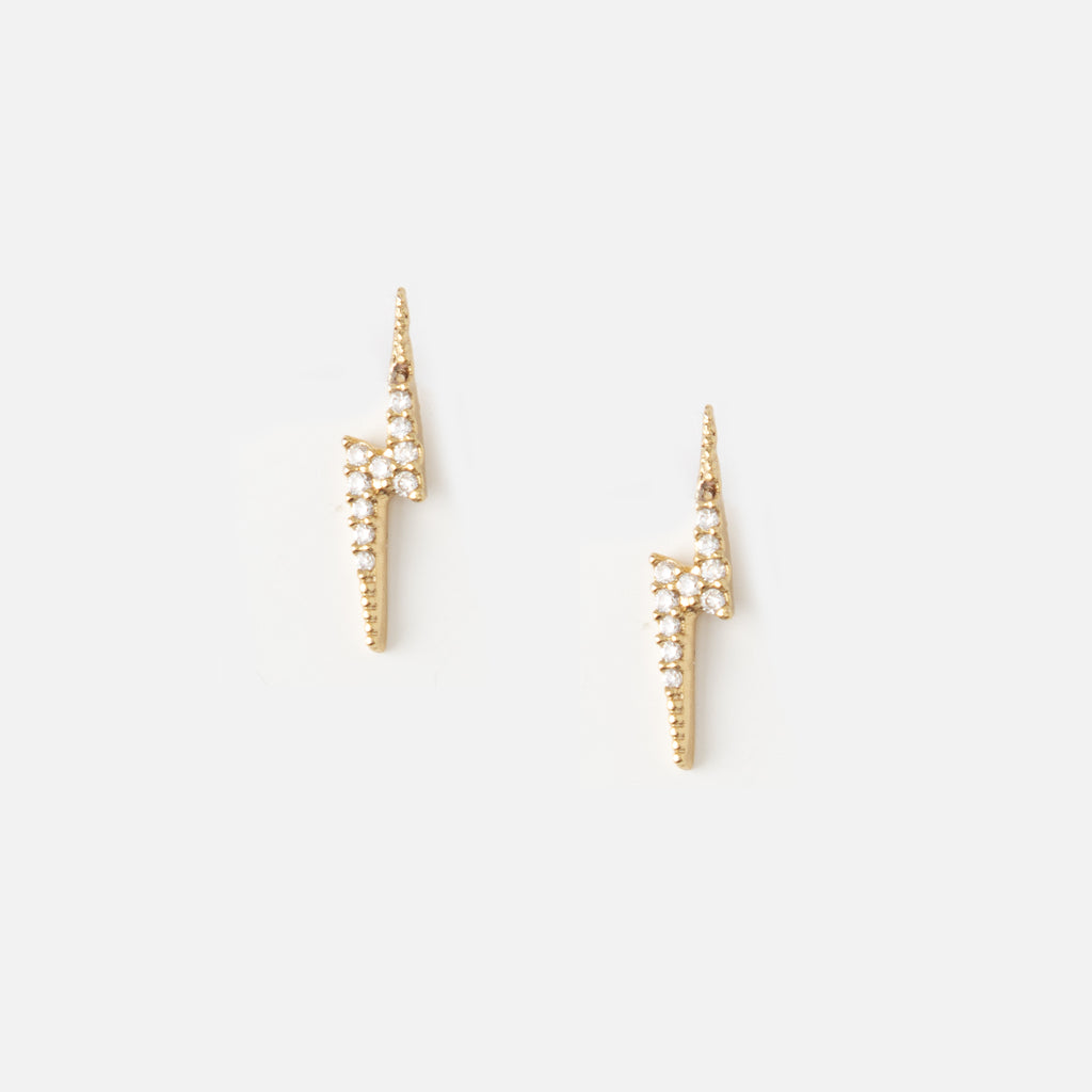 Pave Lightening Bolt Stud Earrings