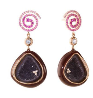Plum Enameled Geode Earrings With Spiral Galaxy Top