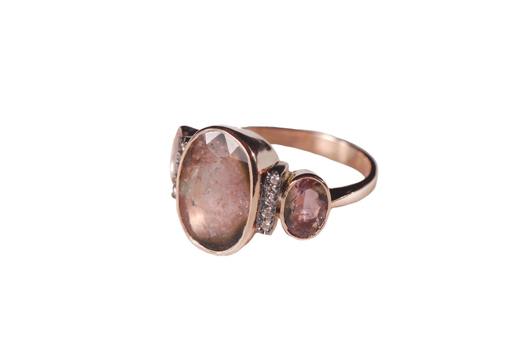 Rose Gold Ring With Tourmaline Diamonds