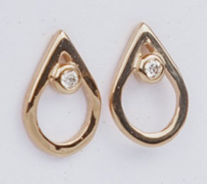 Gold Diamond Mini Point Studs