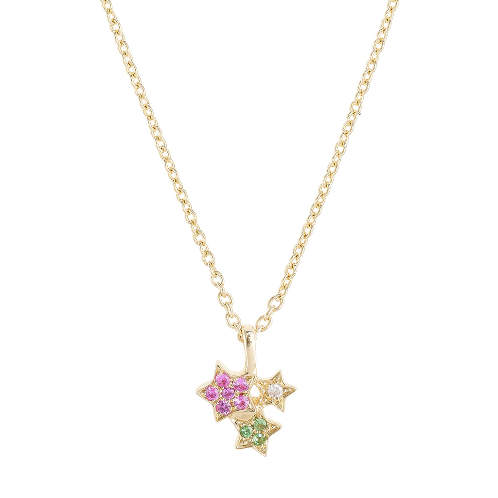 Golden Star Cluster Necklace