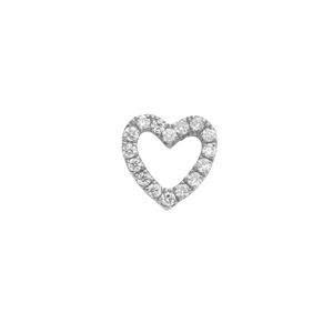 White Diamond Heart Charm