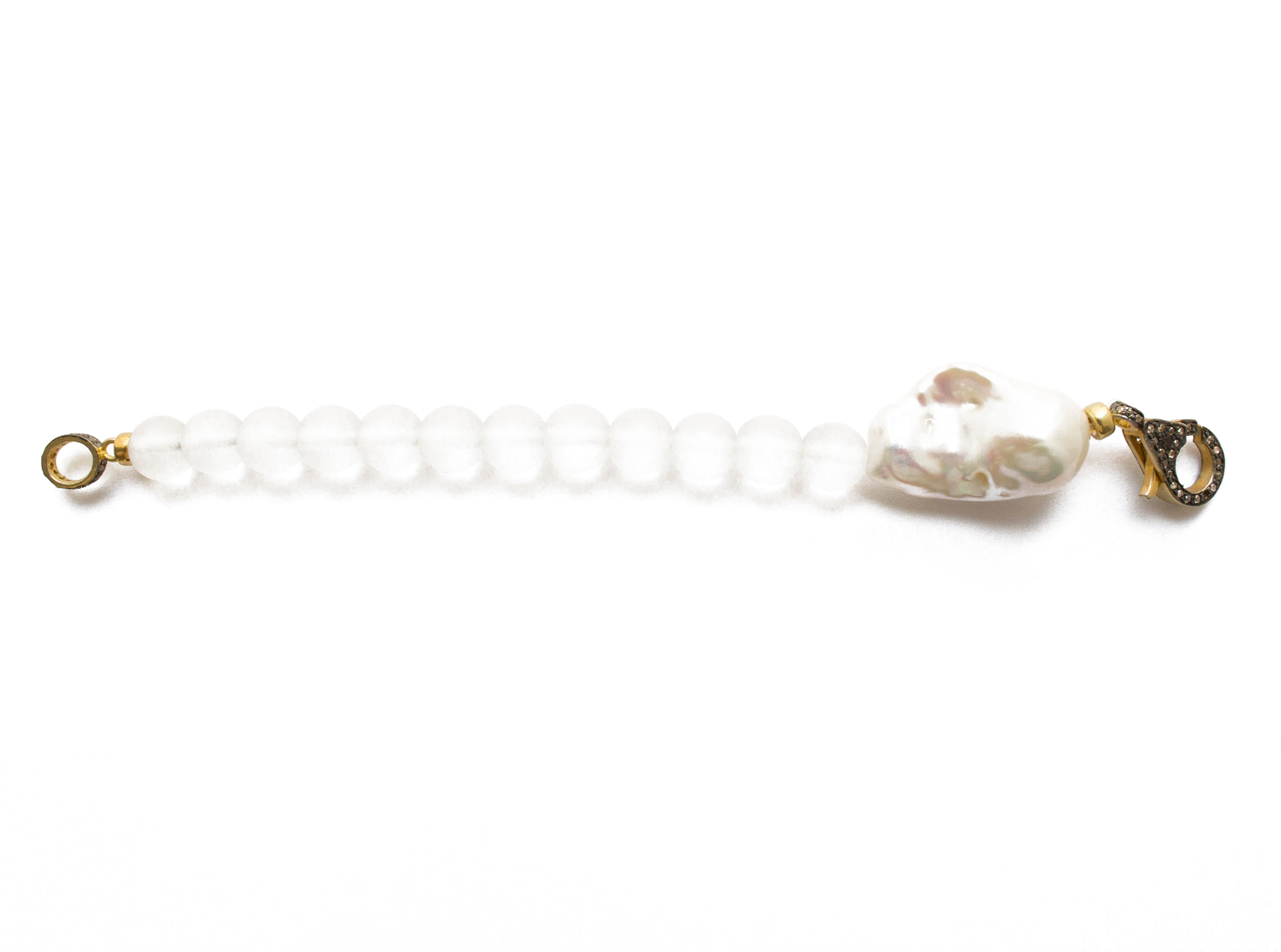 Diamond Baroque Pearl & Quartz bead Bracelet