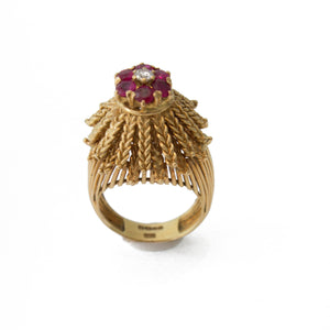 1940's Ruby & Diamond Cocktail Ring
