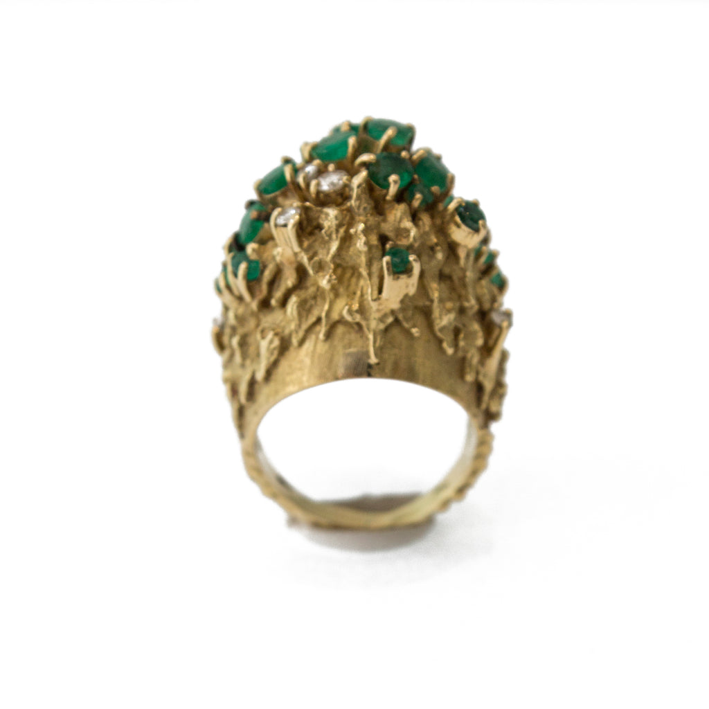 1960's H Stern Diamond And Emerald Ring