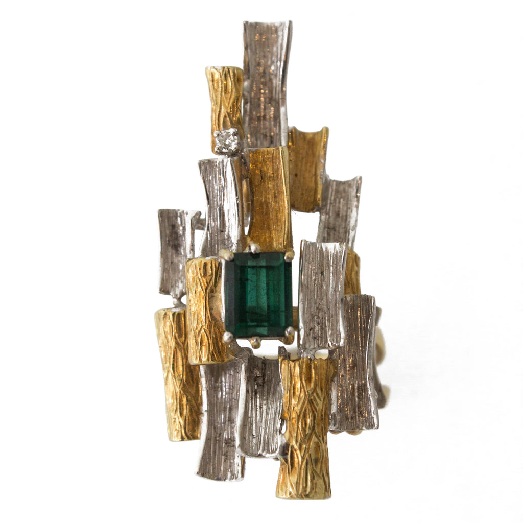 Italian Unnamed White And Yellow Gold Ring With Green Tourmaline