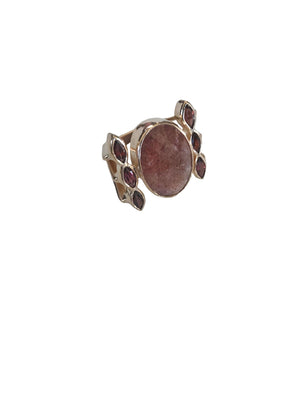 Cherry Quartz Garnet Ring