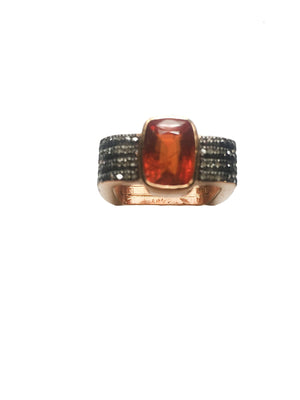 Hessonite Garnet & Diamond Ring