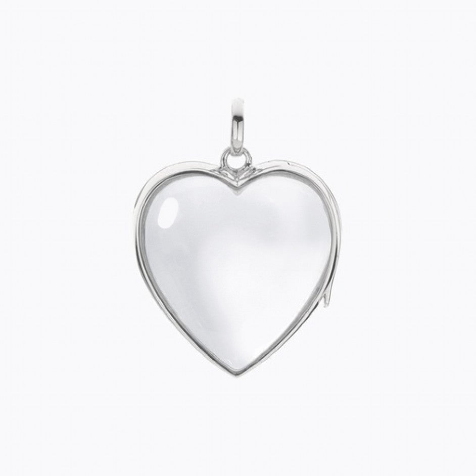 Large White Gold Heart Locket