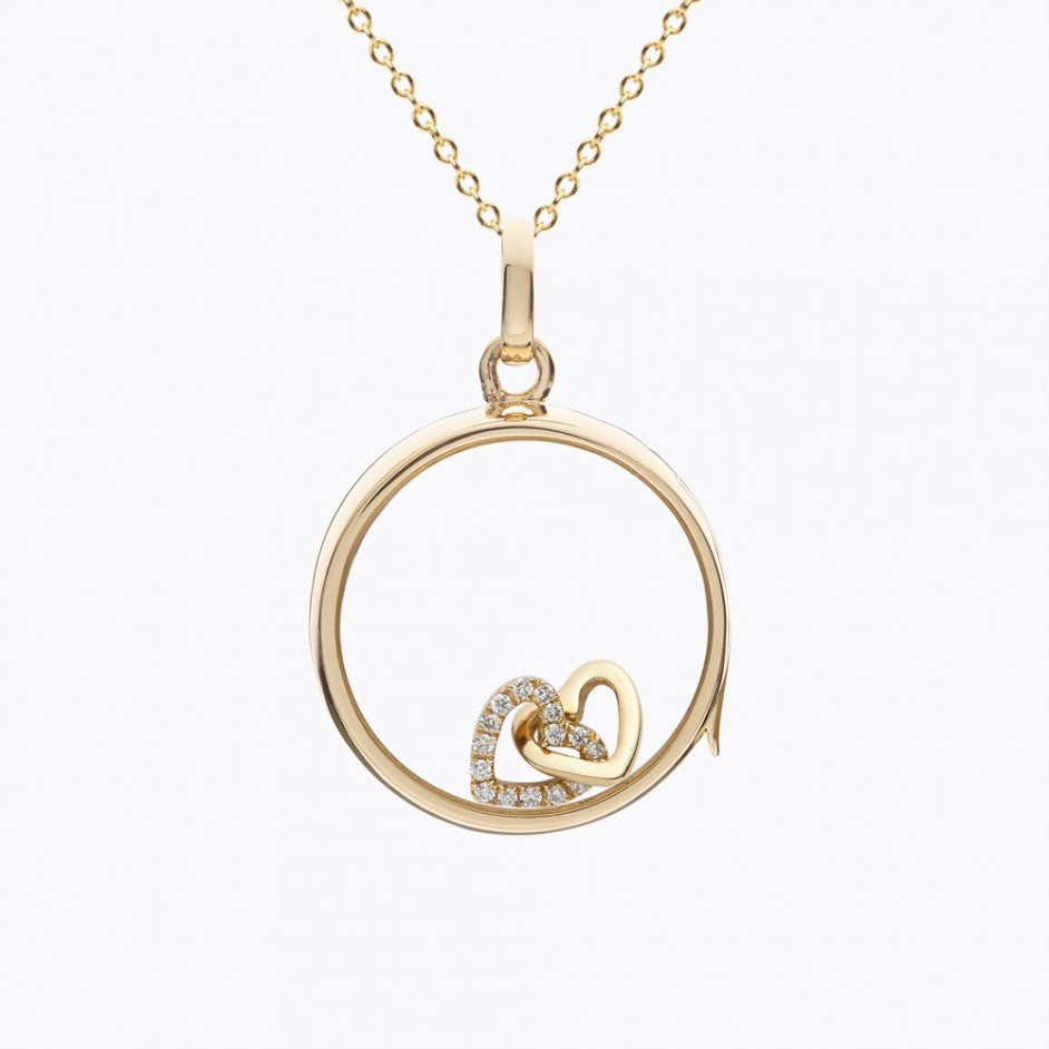 Diamond Linked Heart Charm