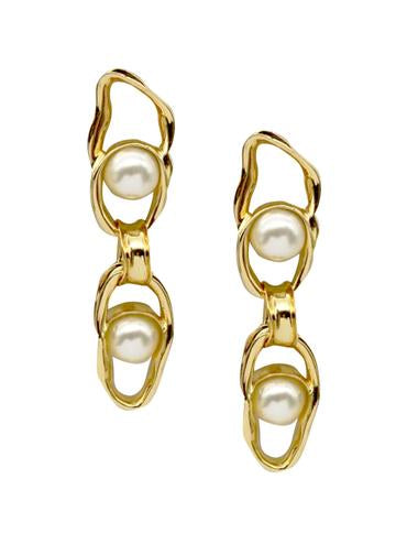 Gold Liquid Chain Pearl Earrings